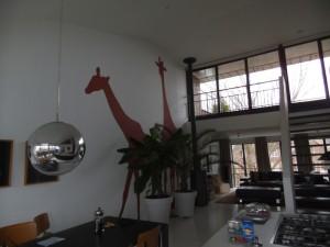 ג'יראפות נגוגל טבעי מצוירות על הקיר בחדר המגורים ושפע אור  מהחלונות